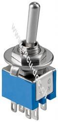 Kippschalter Subminiatur - 2x UM, 6 Pins, blaues Gehäuse
