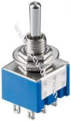 Kippschalter Miniatur, Blau - EIN-AUS-EIN, mit Lötösen