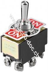 Kippschalter Miniatur, Schwarz - 2x EIN-AUS-EIN, mit Schraubanschlüssen
