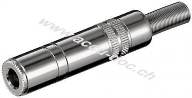 Klinkenkupplung - 6,35 mm - stereo, Klinke 6,35 mm Buchse (3-Pin, stereo) - Metallausführung mit Knickschutz