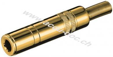 Klinkenkupplung - 6,35 mm - stereo, Klinke 6,35 mm Buchse (3-Pin, stereo) - vergoldet mit Knickschutz