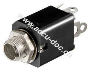Klinkeneinbaubuchse - 6,35 mm - mono - Plastikausführung mit Schaltkontakt