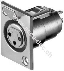 Mikrofon-Einbaubuchse, 3 Pin, 3 Pin - mit Verriegelung