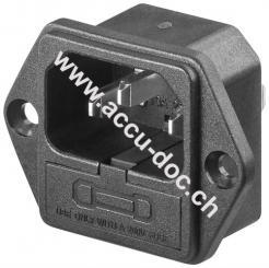 AC-Einbaustecker mit Sicherungshalter - Lötanschluss mit VDE