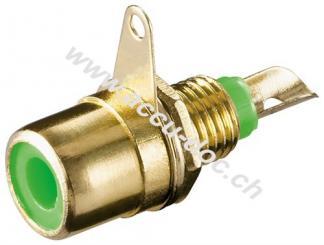 Cinch Buchse zur Gehäusemontage mit Lötanschluss, Grün - Goldausführung, Grün