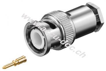 BNC-Stecker mit Schraubanschluss - für RG 58/U Kabel mit Gold-Pin