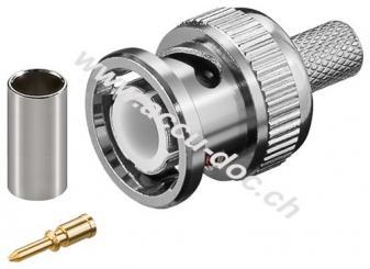 BNC-Crimpstecker - für RG 59/U Kabel mit Gold-Pin