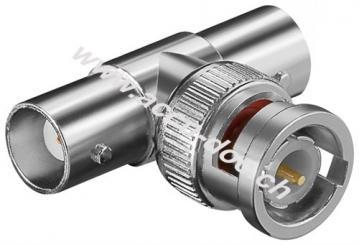 BNC-Stecker > 2 x BNC-Kupplung - T-Adapter, mit Goldkontakten