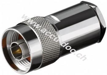 N-Stecker mit ø 11 mm, lötbar, 11 mm - mit Gold-Pin, für RG 213 Kabel