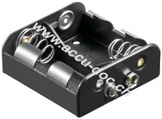 2x C (Baby) Batteriehalter, Schwarz - Druckknopf