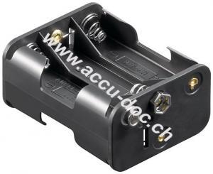 6x AA (Mignon) Batteriehalter, Schwarz - Druckknopf