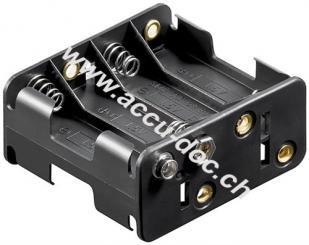 8x AA (Mignon) Batteriehalter, Schwarz - Druckknopf