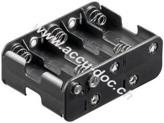 10x AA (Mignon) Batteriehalter, Schwarz - Druckknopf