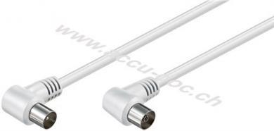 Gewinkeltes Antennenkabel (<70 dB), 2x geschirmt, 5 m, Weiß - Koax-Stecker 90° > Koax-Buchse 90°