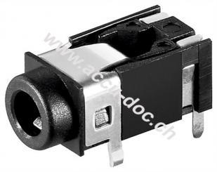 Klinkeneinbaubuchse - 3,5 mm - stereo - Plastikausführung mit 4 Kontakten