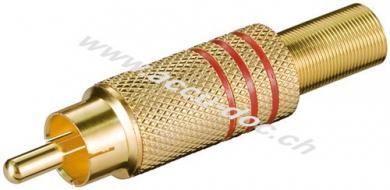 Cinch Stecker, Rot - vergoldet mit Knickschutz