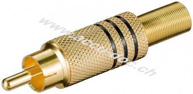 Cinch Stecker, Schwarz - vergoldet mit Knickschutz