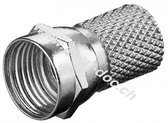 Aufdreh-F-Stecker 7,0 mm, Zink - Zink-Nickel