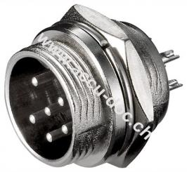 Mikrofon-Einbaustecker, 6 Pin, 6 Pin - 6 polig