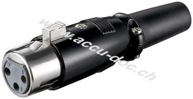 Mikrofonkupplung, 3 Pin, 3 Pin, Schwarz - mit geschraubter Zugentlastung