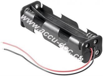 8x AA (Mignon) Batteriehalter, Schwarz - lose Kabelenden