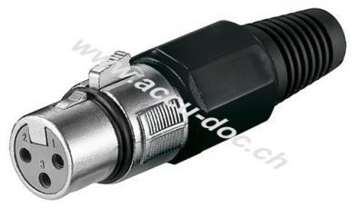 Mikrofonkupplung, 3 Pin, 3 Pin, Schwarz - mit Verriegelung und geschraubter Zugentlastung
