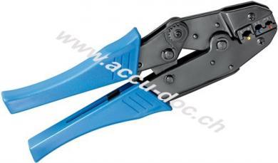 Crimpzange für isolierte Kabelschuhe, Blau - mit Zwangssperre und automatischer Entriegelung