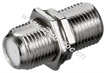 F-Verbinder: F-Buchse > F-Buchse, 10 Stk. im Plastikbeutel - Zink