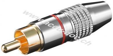 Cinch Stecker, Rot - Metallausführung mit vergoldeten Kontakten