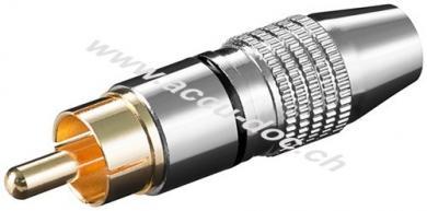 Cinch Stecker, Schwarz - Metallausführung mit vergoldeten Kontakten