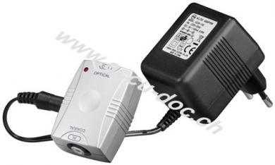 Koaxial-Opto-Wandler, Silber - konvertiert ein digitales Cinchsignal in ein digital optisches Toslinksignal
