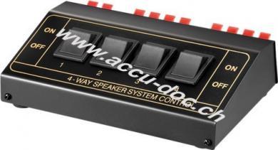 Lautsprecher-Umschaltbox, Schwarz - zum Anschluss von bis zu 4 Lautsprecherpaaren