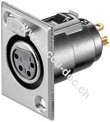 Mikrofon-Einbaubuchse, 4 Pin, 4 Pin - mit Verriegelung und vergoldeten Kontakten