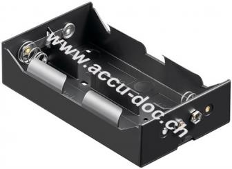 4x D (Mono) Batteriehalter, Schwarz - Druckknopf