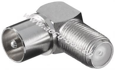 Winkeladapter: F-Buchse > Koax-Stecker 90° - Zink