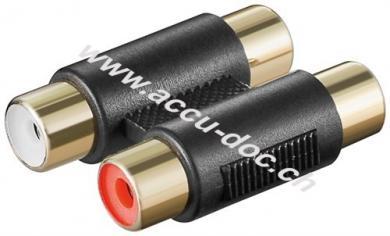 Cinch zweifach Adapter 2x Buchse zu 2x Buchse, vergoldet - 2x Cinch-Buchse (Audio links/rechts) > 2x Cinch-Buchse (Audio links/rechts)