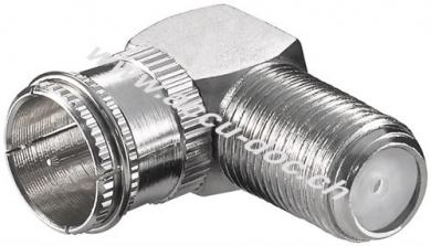 Winkeladapter: F-Stecker (Quick) > F-Buchse 90°, Zink - Zink