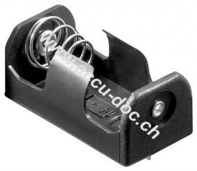 1x 1/2 AA (Mignon)/CR 2 Batteriehalter, Schwarz - Printmontage, horizontal (2-Pin)