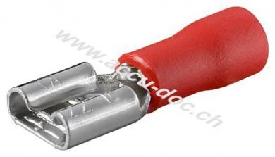Flachsteckhülse, Rot, Rot - Steckmaß: 6,4 mm x 0,8 mm, 10 A