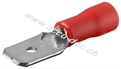 Flachstecker, Rot, Rot - Steckmaß: 4,8 mm x 0,8 mm, 10 A