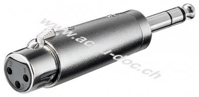 XLR Adapter, AUX Klinke 6,35 mm stereo Stecker zu XLR Buchse - XLR-Buchse (3-Pin) > Klinke 6,35 mm Stecker (4-Pin, stereo)
