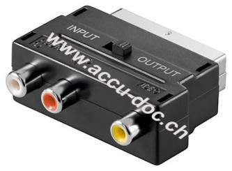 Scart zu Composite Audio Video Adapter, IN/OUT, Scartstecker (21-Pin), Schwarz - Scartstecker (21-Pin) > 3x Cinch-Buchse