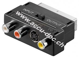 Scart zu Composite Audio Video und S-Video Adapter, IN/OUT, Scartstecker (21-Pin), Schwarz - Scartstecker (21-Pin) > 3x Cinch-Buchse + Mini-DIN 4-Buchse (S-Video)