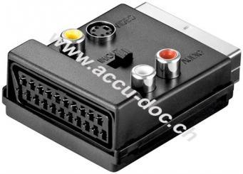 Scart zu Composite Video und S-Video Adapter, IN/OUT, mit Scart Durchleitung, Scartstecker (21-Pin), Schwarz - Scartstecker (21-Pin) > Scartbuchse (21-Pin) + 3x Cinch-Buc