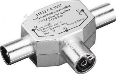 Koax T-Adapter: 2x Koax-Stecker > Koax-Buchse, 1 Stk. im Polybeutel - Metall