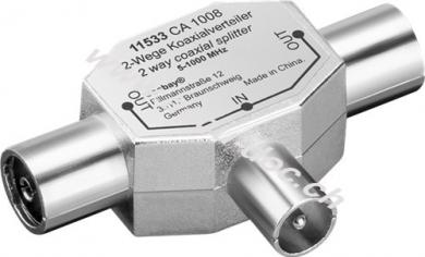 Koax T-Adapter: 2x Koax-Buchse > Koax-Stecker - Metall