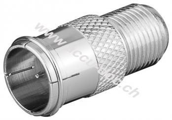 F-Adapter: F-Stecker (Quick) > F-Buchse, Zink - Zink