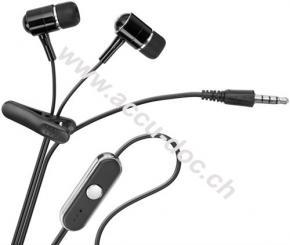 In-Ear Headset, Schwarz-Silber, 1.15 m - mit Freisprecheinrichtung