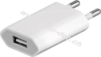USB Ladegerät 1 A, Weiß - mit 1x USB-Buchse, flache Bauform