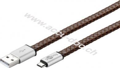 Micro USB Lade- und Synchronisationskabel, Leder, 0.2 m, Schwarz-Braun - edles Lederkabel für Android-Geräte, Schwarz, Braun, Silber